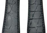 Hirsch 'Genuine Croco' M 20mm Black Openended Leather Strap