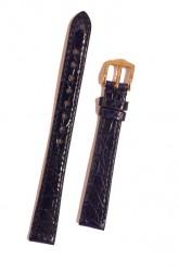 Hirsch 'Genuine Croco' M 13mm Blue Leather Strap