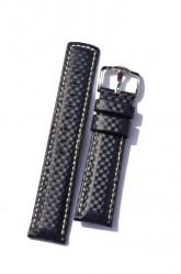 Hirsch 'Carbon' High Tech 18mm  Navy Blue Leather Strap