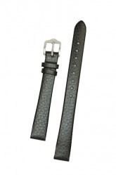 Hirsch 'Dakota' Black, leather watch strap,L, 16mm