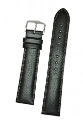 Hirsch 'Forest' L 20mm Black Soft Calfskin Leather Strap