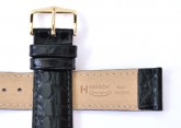 Hirsch 'Crocograin' Black Leather Strap, 18mm