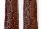 Hirsch 'Crocograin' Brown Leather Strap, 14mm