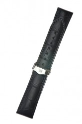 Hirsch 'Lord' Black Leather Strap, 18mm