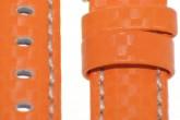 Hirsch 'Carbon' High Tech 18mm Orange Leather Strap