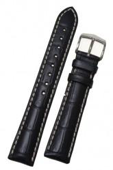 Hirsch 'Modena' Black Leather Strap, 22mm