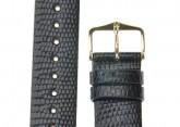 Hirsch 'Lizard' 18mm Long Black Leather Strap