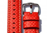Hirsch 'Carbon' High Tech 22mm  red Leather Strap