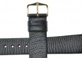 Hirsch 'Lizard' 20mm Long Black Leather Strap