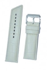 Hirsch 'Princess' White Leather Strap, 22mm