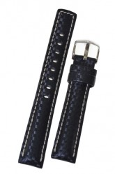 Hirsch 'Carbon' High Tech 22mm Black Leather Strap