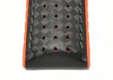 Hirsch 'Ayrton' Performance 22mm Black and Orange Strap