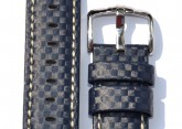 Hirsch 'Carbon' High Tech 22mm  Navy Blue Leather Strap
