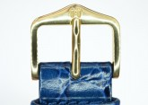 Hirsch 'Crocograin' Blue Leather Strap,M, 20mm