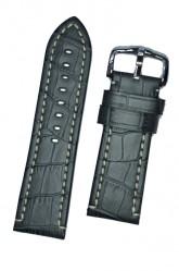 Hirsch 'Knight' 26mm Grey Leather Strap