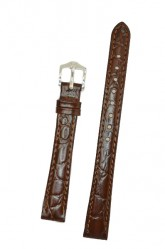 Hirsch 'Crocograin' Brown Leather Strap, 8mm