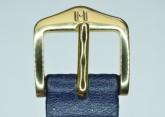 Hirsch 'Diamond calf'' Blue Leather Strap,M, 16mm