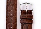 Hirsch 'Crocograin' Brown Leather Strap, 18mm