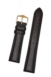 Hirsch 'Camelgrain' open ended 17mm Black Leather Strap