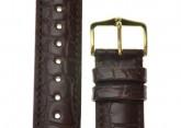 Hirsch 'Genuine Alligator' M 16mm  Brown Leather Strap