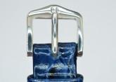 Hirsch 'Crocograin' Blue Leather Strap,M, 16mm