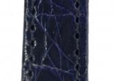 Hirsch 'Genuine Croco' M 14mm Blue Leather Strap
