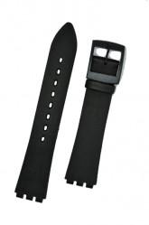 Hirsch Sarah, Watch Strap for Swatch Slim in black, 16mm, Plastic Buckle