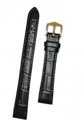Hirsch 'LouisianaLook' Black Leather Strap, 18mm