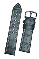 Hirsch 'Knight' 24mm Grey Leather Strap