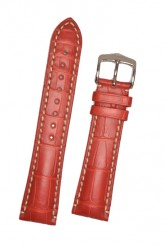 Hirsch 'Viscount' Red Leather Strap, 24mm