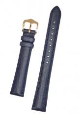 Hirsch 'Camelgrain' 16mm Blue Leather Strap