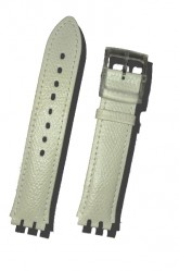Hirsch Mel, Watch Strap for Swatch Gents in White, 16mm, Plastic Buckle