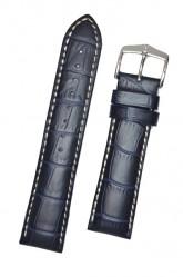 Hirsch 'Modena' Blue Leather Strap, 19mm