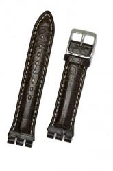 Hirsch Louisiana, Watch Strap for Swatch Chronos in Brown, 19mm, Steel Buckle