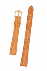 Hirsch 'Camelgrain' open ended 12mm Honey Leather Strap