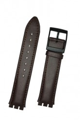 Hirsch William, Watch Strap for Swatch Gents in Brown, 17mm, Plastic Buckle