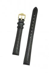 Hirsch 'Highland' Black, leather watch strap 12mm