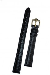 Hirsch 'Aristocrat' 12mm Black Leather Strap