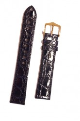 Hirsch 'Genuine Croco' M 18mm Blue Leather Strap