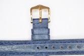 Hirsch 'Camelgrain' L 18mm Blue Leather Strap