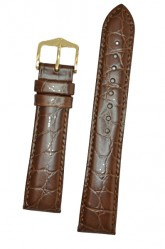 Hirsch 'Crocograin' Long Brown Leather Strap, 16mm
