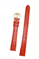 Hirsch 'Crocograin' Red Leather Strap, 14mm