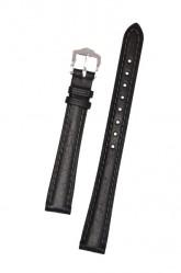 Hirsch 'Camelgrain' L 22mm Black Leather Strap