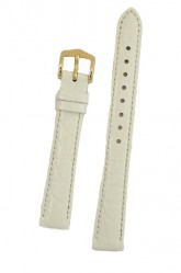 Hirsch 'Crocograin' Medium White Leather Strap, 14mm