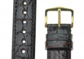 Hirsch 'Genuine Croco' M 19mm Brown Openended Leather Strap