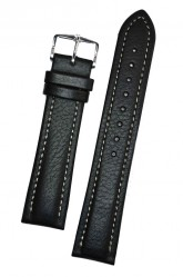 Hirsch 'Buffalo' M 18mm Black Leather Strap