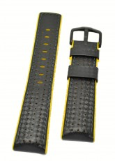 Hirsch 'Ayrton' Performance 22mm Black and Yellow Strap
