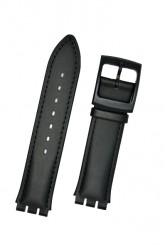 Hirsch William S, Watch Strap for Swatch Gents in Black, 17mm, Plastic Buckle