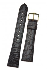 Hirsch 'Genuine Croco' M 17mm Brown Openended Leather Strap