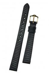 Hirsch 'Lizard' 16mm Black Leather Strap
